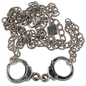 Sterling Silver Handcuff Necklace Femme Metale